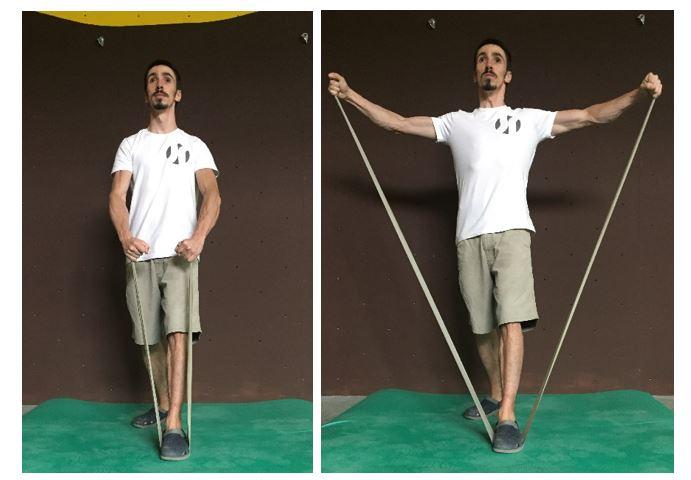 Aproximación de escapulas con elástico (ejercicio estabilizador de la escapula)